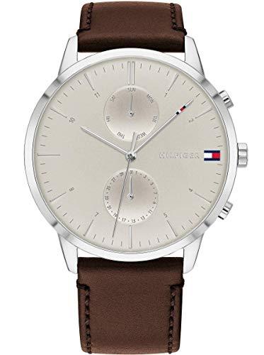 Tommy Hilfiger Herren Analoger Quarz Uhr mit Echtes Leder Armband 1710404