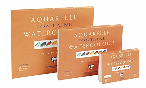 Clairefontaine 96414C Malblock, 4-seitig verleimt Aquarellpapier Feinkörnig, Fontaine/Hadern, 24 x 30 cm, 25 Blatt, 300 g Packung, weiß