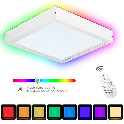 Albrillo 20W RGB LED Deckenleuchte Panel | 7 Lichtfarben + Warmweiß Dimmbar Deckenlampe | inkl. Aluminiumrahmen und 2.4GHZ Fernbedienung | Schlafzimmer Wohnzimmer Küche geeignet | IP20, Ø300mm