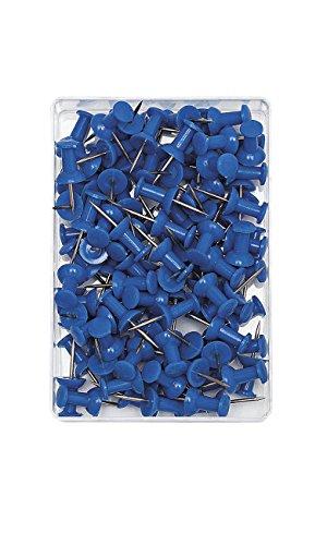 Wedo 54203 Pinnadeln Diabolo-Form, Länge 2,3 cm, Kopfdurchmesser 9 mm, Nadellänge 1,1 cm, 100 Stück in Klarsichtdose, blau
