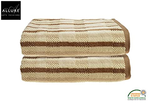 Luxury Towel in 100% Cotton California Collection by Allure Bath Fashions 2 x Absorbent and Quick Dry Bath Towels Set 70 x 127cm 550gsm in Naturals Beige (2x Bath
