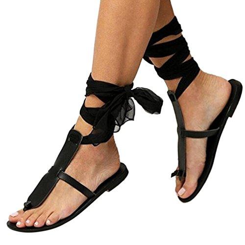 feiXIANG Sommer Frauen Sandalen Bandagen Flach Römersandalen Einfarbig Schuhe für Damen   (39, Schwarz)