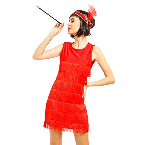 20er Jahre Damen retro Fransen Kleid Flapper Hochzeitkleid Tanzkleid Partykleid Charleston Kostuem...