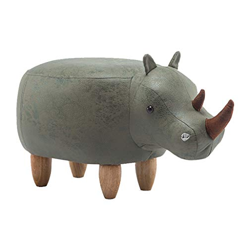 Taburete de dibujos animados Pufón otomano de madera hipopótamo con