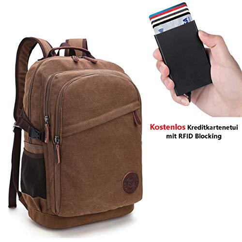 Neusky Vintage Canvas Rucksack Laptoprucksack Retro Schulrucksack Backpack Daypack für Uni, Laptop, Wandern, Outdoor Sport, Freizeit, Einkaufen mit der großen Kapazität (Braun)