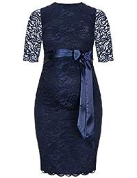 Herzmutter Umstands-Spitzen-Kleid, Elegantes-knielanges Schwangerschafts-Kleid für Festliche Anlässe, mit Spitze, Creme-Weiß-Champagner-Blau-Rot-Schwarz (6200)