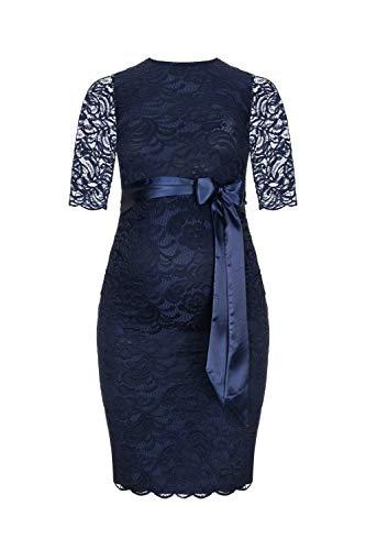 Herzmutter Umstands-Spitzen-Kleid, Elegantes-Knielanges Schwangerschafts-Kleid für Festliche Anlässe, mit Spitze aus Baumwoll-Mix, Creme-Weiß-Dunkelblau (6200) (Dunkelblau)