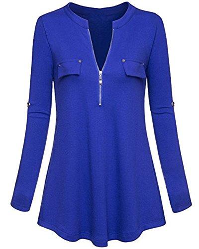 YuanDian Donna Autunno Casual Maniche Lunghe Maglieria Top Orlo Irregolare V Collare Asimmetrica T Shirt Camicetta Magliette Blu