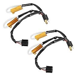 Yctze 2 stücke 12V LED Decoder Lastwiderstand,Autoscheinwerfer Blinkfehler Freies Kabelbaum für H4