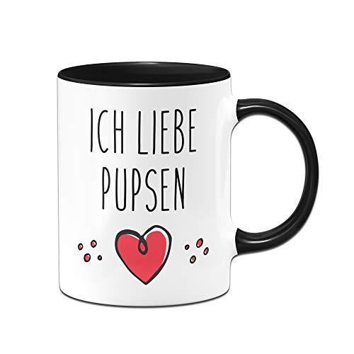 Tassenbrennerei Tasse mit Spruch Ich Liebe Pupsen, furzen Bürotasse Geschenk für Arbeitskollegen, Kollegin, Freundin Tassen mit Sprüchen lustig (Schwarz)