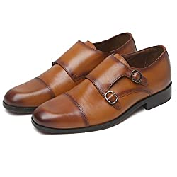 BRUNE Tan Color 100% Genuine Leather Double Monk Strap Shoes For Men size-8