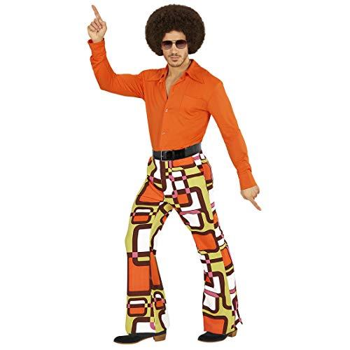 Amakando Pantalon années 70 Pattes d'éléphant / en Taille S/M (FR 48/50) / Déguisement Hippie Flower Power Saturday Night / Parfaitement habillé pour fête à thème & soirée Pop