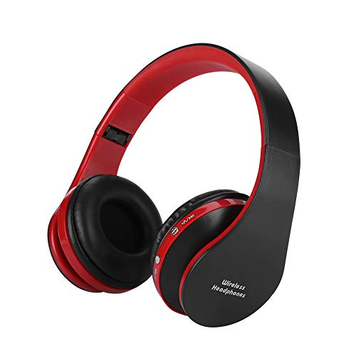 Garsent Kabelloses Headset Kopfhörer, Faltbarer HiFi Sound Bluetooth On Ear Kopfhörer für PS4, iPhone, Laptop, Tablets.(Schwarz und Rot)