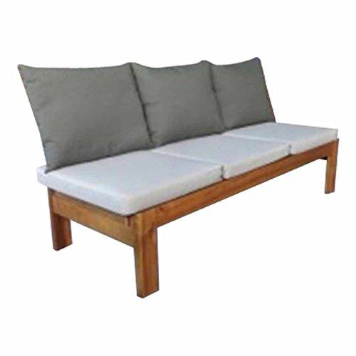 Liegebank OUTLIV. Alofi 3-Sitzerbank 224cm verstellbare Sitz-/Liegefläche Holz Akazie/Polyester braun/grau Gartenbank modern Sitzbank wetterfest