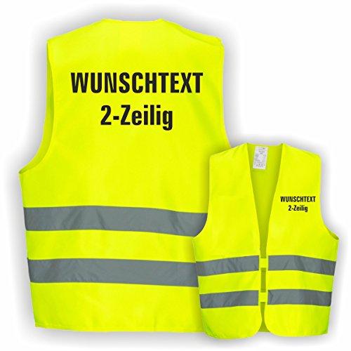 Warnweste GELB Sicherheitsweste Weste Ordner Security Crew (Text nach Wunsch 2 Zeilig 1 Weste) (Gelben T-shirt Text)