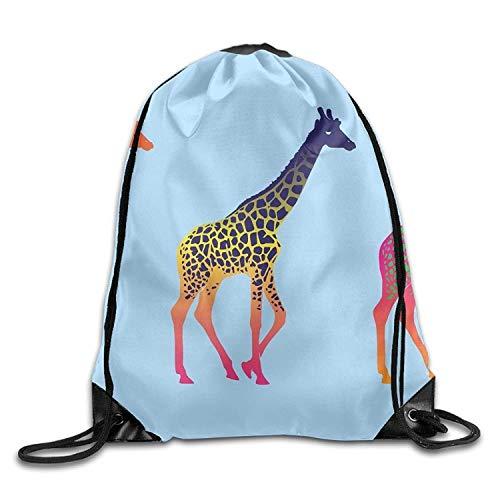 uykjuykj Tunnelzug Rucksäcke, Gym Drawstring Bags Three Giraffes Wallpaper Draw Rope Shopping Travel Backpack Tote Student Camping Lightweight Unique 17x14 IN