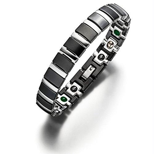 Lunavit Magnetschmuck, Damen und Herren Titan Keramik Gliederarmband, Magnetarmband mit Neodym-Magnete, Germaniumsteine und Jade Steine, Schwarz Silber