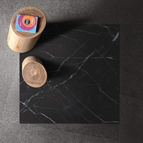 Moderne Wasserdichte Badezimmer Küche Marmor Bodenfliesen Aufkleber Selbstklebende Vinyltapete Boden Renovierung Wand Dekorfolie, Schwarz, 4 Stücke