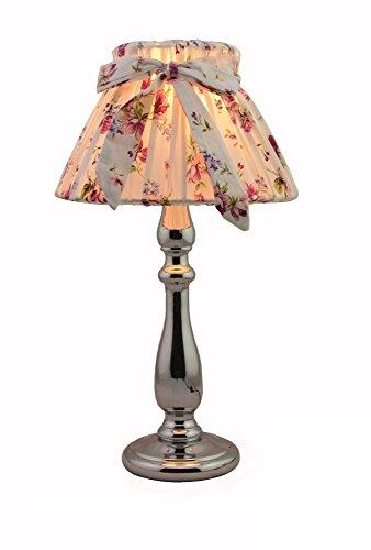 Moderne Chrom Tischlampe und Sex Kleid Blume Tücher Lampenschirm(LED Birne frei)