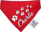 KLEINER FRATZ Hunde Durchzugstuch (Fb: Rot-Orange) (Gr.M - 23 x 18 cm) mit Namen Ihres Tieres