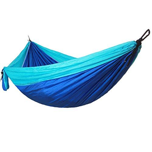 VORCOOL Portable Camping Simple et Double hamac hamac en Nylon léger Portable avec Cordes en Nylon pour Parachute et mousquetons Solides pour la randonnée en Ville (Bleu)
