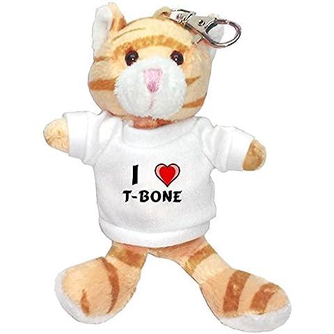 Gato marrón de peluche (llavero) con Amo T-bone en la camiseta (nombre de pila/apellido/apodo)