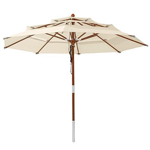 anndora Sonnenschirm 3-lagig 3 m rund Modell DREILADREI Gartenschirm Natural
