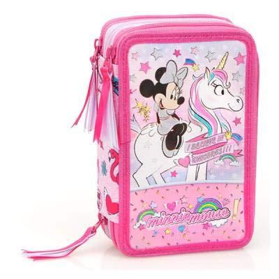 astuccio borsello scuola - minnie mouse topolina disney - 3 zip/cerniere porta colori pennarelli giotto cm. 20x13x6 - 36224