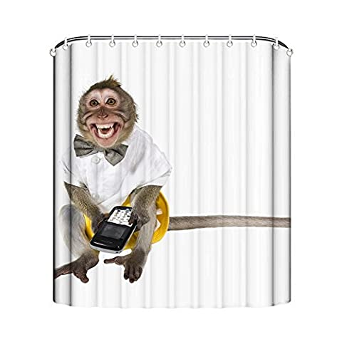 GD-designs Duschvorhang Tier Anti-Schimmel Badvorhang Badezimmer Vorhänge Dekorativer Duschvorhang Liner mitHaken Polyester Wasserdicht Maschinenwaschbar Affe 165x180cm