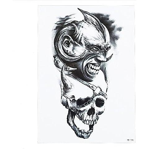 HJLWST® 8pcs carta pasta di moda impermeabile autoadesivo provvisorio del tatuaggio cranio donne onda del (Diamante Dell'elefante Collana)