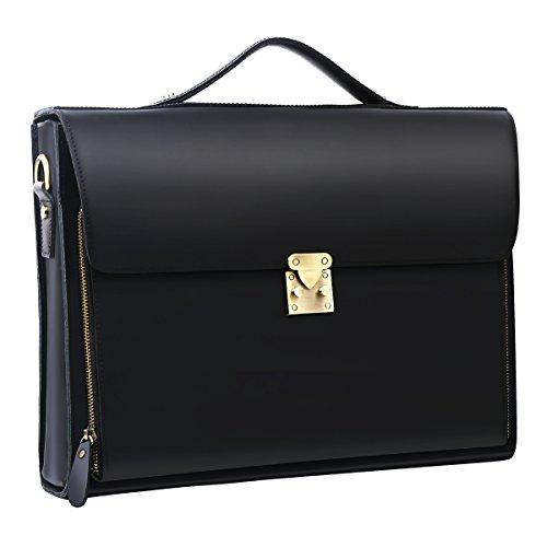 Leathario Herren Ledertasche Vintage Handtasche Umhängetasche Aktentasche Laptoptasche Unitasche Bürotasche Collegetasche Lehrertasche Arbeitstasche Businesstasche Messenger Bag (Schwarz2)