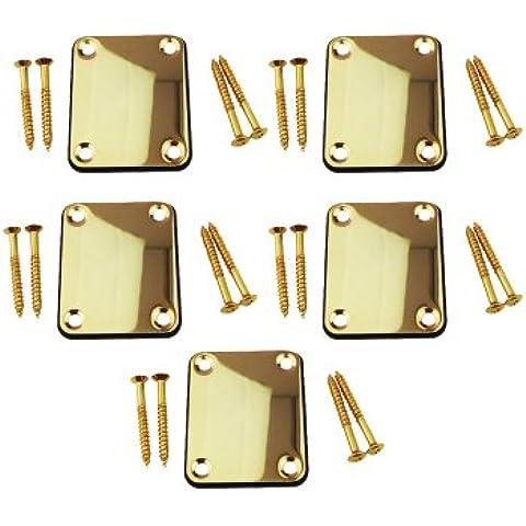 Musiclily de metales de placas 4 Agujero cuello de la guitarra Fender Stratocaster de Tele guitarra o bajo, cromo( Pack de