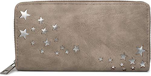 styleBREAKER Cartera de Mujer con recortados metálicos en Forma de Estrella, Cremallera, Monedero 02040115, Color:Gris Pardo