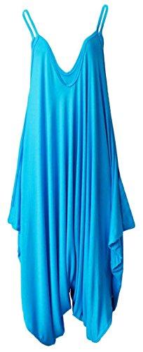 Femmes Mesdames plaine sans manches Cami Baggy Strapy Romper Harem Lagenlook Playsuit Jumpsuit Top Dress Taille XL XXL XXXL 36 38 40 42 44 46 48 50 52 54 Turquoise