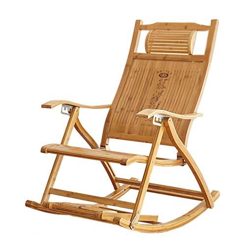 Garten Schaukelstuhl Aus Holz, FußStüTze Design VerläNgern Falten Wicker Stuhl Pads Patio MöBel üBerfüLlte Sitzkissen Mit Bequemen Relax Lounge Chair Recliner