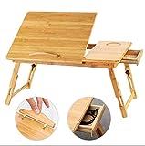 Klapptisch Fly Bambus Laptop-Tisch Mit Schublade Und Ventilator Studentenwohnheim Schlafsaal Studie Tisch 60 * 66 * 35 * 20~30cm