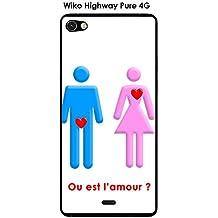 Cover Wiko Highway Pure Design O è l' amore con testo