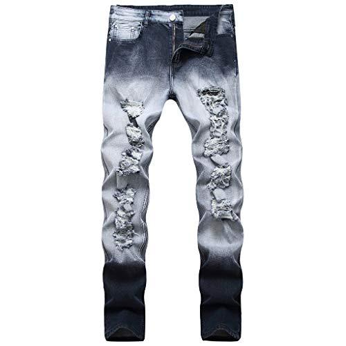 Luotuo Herren Jeanshosen Mode Gewaschen Dunkler Stil Slim Lang Hose Retro Hip Hop Jeans Hohe Qualität Täglich Casual Pants