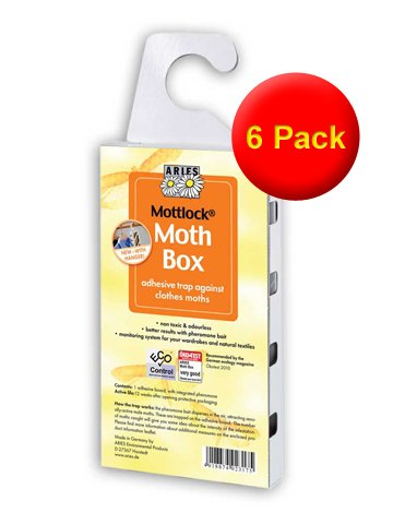 VALUE PACK of 6 Mottlock Moth Boxes from Aries - Best Catch Rates for Clothes Moths on the Market!