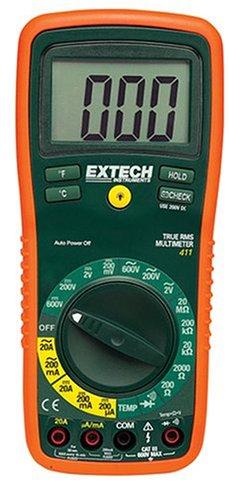 Extech True RMS Digitales Multimeter mit externen Typ K Temperaturfühlern, 1 Stück, EX411 Extech True Rms Digital-multimeter