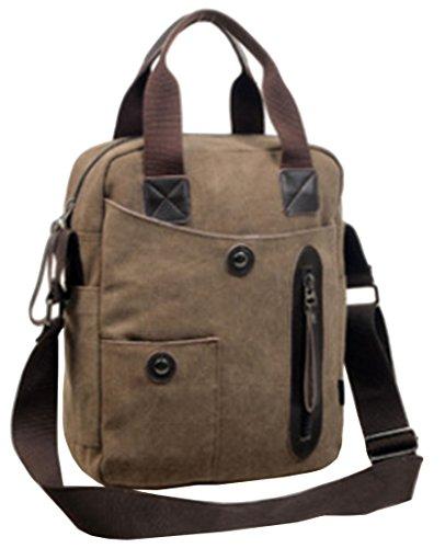 SK Studio Herren Handtasche Schultertasche Messenger Tasche Mit Zip-Taschen Funktionelle Bauchtasche Dual Schultertaschen Umhängetasche Pouch Crossbody Bag Braun