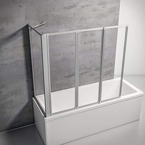Schulte D133070 01 50 Smart Duschabtrennung für Badewanne alunatur + Echtglas klar, mit Seitenwand für 68-71 cm Wanne