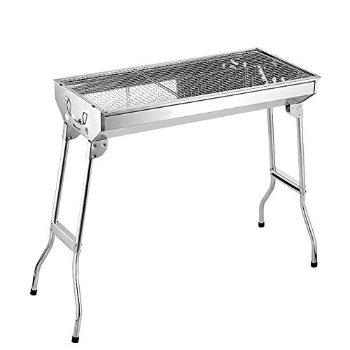 WJH Tragbarer Camping-Grill, Edelstahl-Grill, Holzkohlegrill BBQ Carbon Oven Outdoor Folding Tragbarer Grill Große Chrom-Grillrost, Camping Trip, Gartengrill -