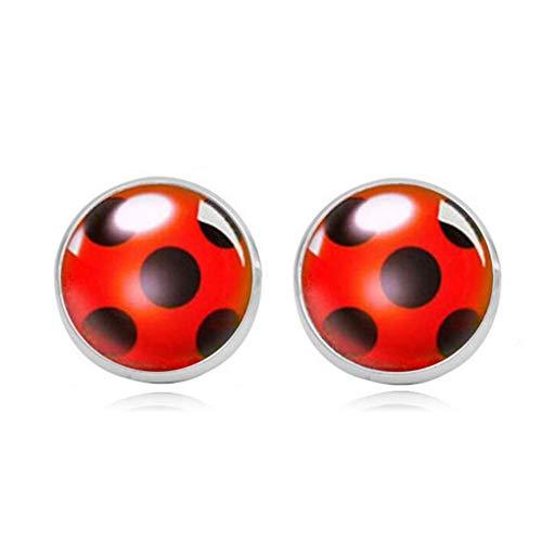 Ogquaton Pendientes de Perlas de Mariquita de Escarabajo de Color Rojo Lindo Pendientes de Gemas de aleación de Tiempo