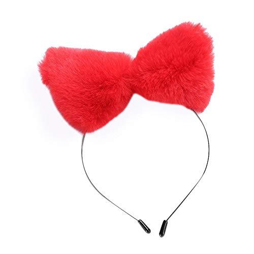 8Eninine Mädchen Pelz Fuchs Ohren elastische Stirnbänder Haarbänder Cosplay Kopfschmuck Party - rot