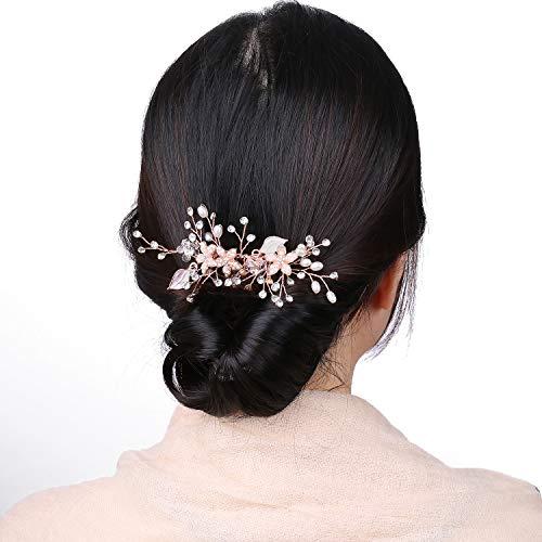 Rose Gold Haarschmuck Hochzeit für Braut,Vintage Roségold Strass Haarkamm für Mädchen Brautschmuck mit Blätter,Rosegold Perle Handgefertigt kamm Tiara Jewelry...