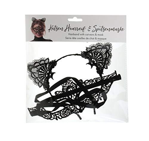 Haarreifen Set Katze Spitze Ohren und Maske Fastnacht Fasching Karneval Kostüm ()