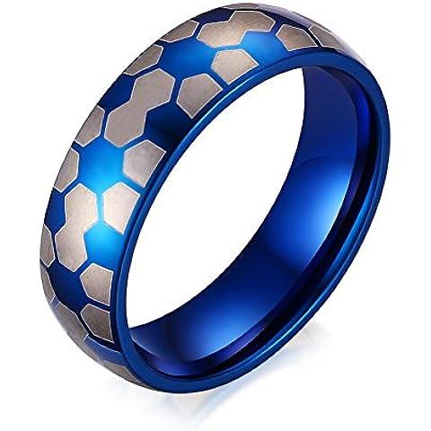 Vnox 6 millimetri Uomo Acciaio calcio Finger Football anello della fascia Sport Fitness blu gioielli