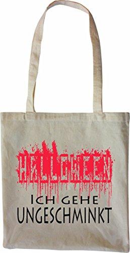 hopping Tasche Beutel Halloween - Ich gehe ungeschminkt verkleiden Witzig Jutebeutel natur Öko Natur ()