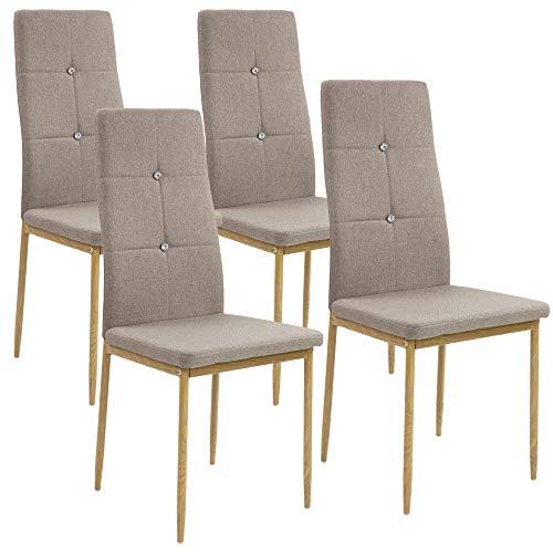 Albatros Esszimmerstühle Crystal 4-er Set Cappucino/Braun, Stoffbezug, Bequem & Ergonomisch geformte Lehne, Küchenstühle